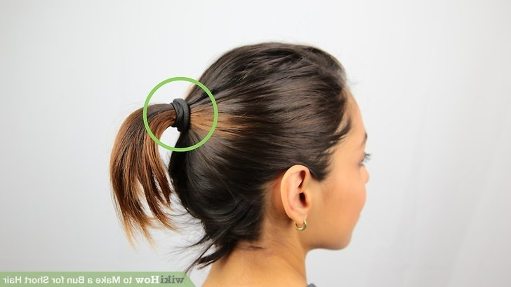 3 Ways To Make A Bun For Short Hair – Wikihow With Glossy Twisted Look Ponytail Hairstyles (View 13 of 25)