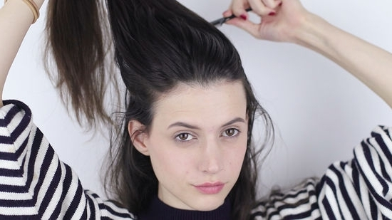 3 Ways To Make A High Ponytail – Wikihow For Messy And Teased Gray Pony Hairstyles (View 12 of 25)