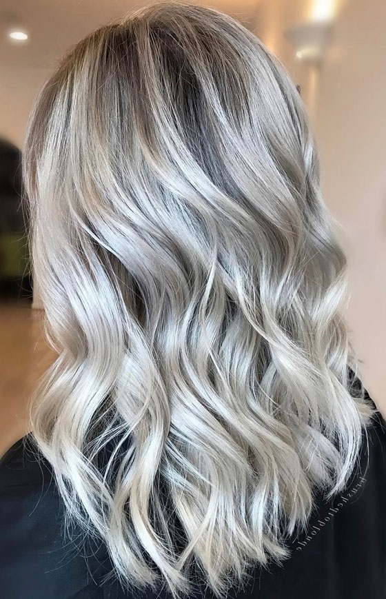 30 Ash Blonde Hair Color Ideas That You'll Want To Try Out Right Away Regarding Dark Roots And Icy Cool Ends Blonde Hairstyles (View 6 of 25)