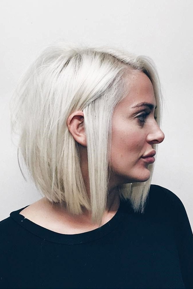 30 Blonde Short Hairstyles For Round Faces | Blonde | Pinterest Within Asymmetry Blonde Bob Hairstyles Enhanced By Color (View 12 of 25)