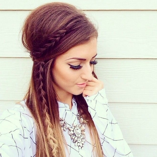 30 Boho Chic Hairstyles You Must Love | Styles Weekly Pertaining To Bouffant And Braid Ponytail Hairstyles (View 8 of 25)