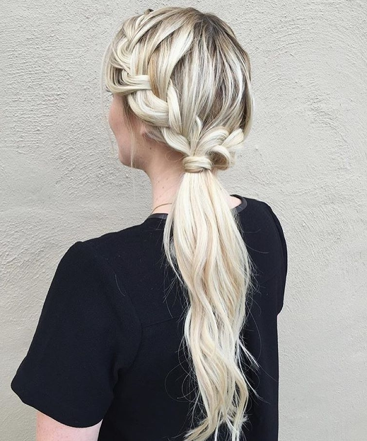 30 Braided Ponytail Hairstyles To Slay In 2018 | Hairstyle Guru Regarding Messy Ponytail Hairstyles With Side Dutch Braid (View 17 of 25)