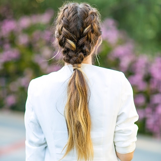30 Braided Ponytail Hairstyles To Slay In 2018 | Hairstyle Guru Throughout Two Braids In One Hairstyles (View 25 of 25)