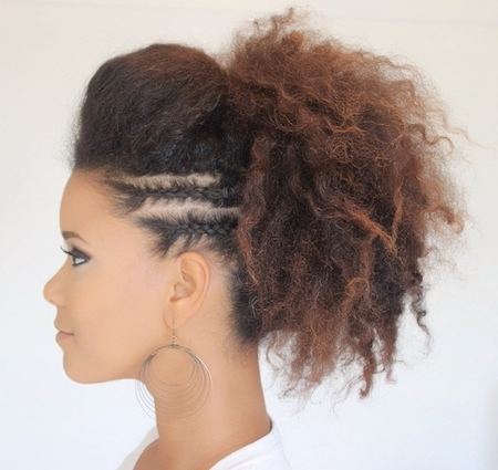 30 Braided Ponytail Hairstyles To Slay In 2018   Hairstyle Guru With Pony Hairstyles With Curled Bangs And Cornrows (View 4 of 25)
