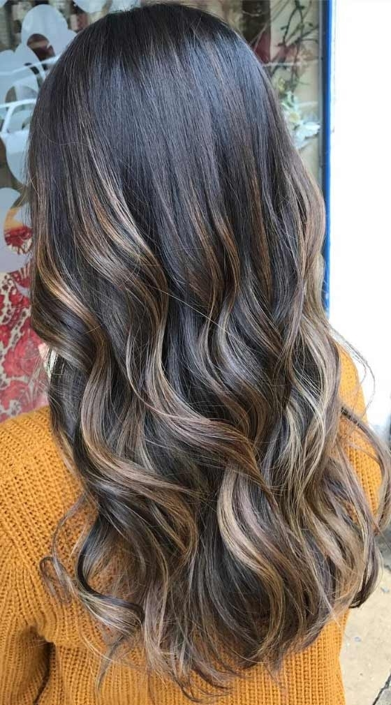 30 Chic Highlight Ideas For Your Brown Hair Intended For Dark Brown Hair Hairstyles With Silver Blonde Highlights (View 3 of 25)