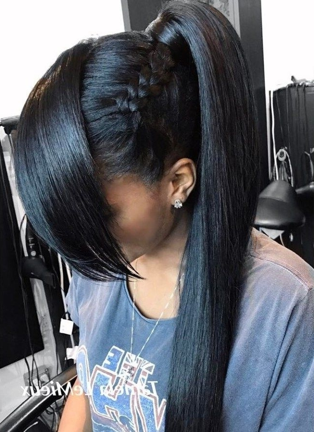 30 Classy Black Ponytail Hairstyles | Hair Care ? | Pinterest For High Braided Pony Hairstyles With Peek A Boo Bangs (View 5 of 25)