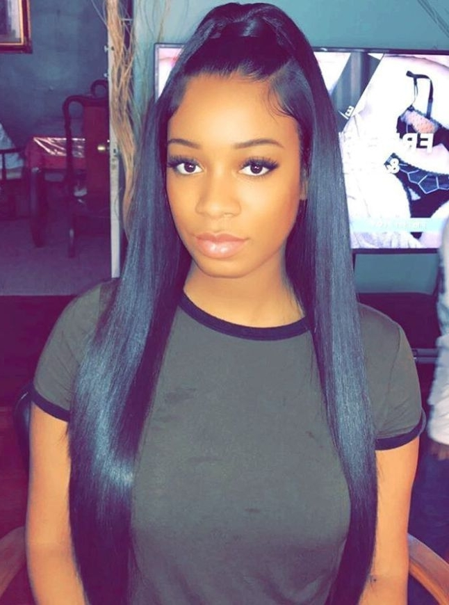 30 Classy Black Ponytail Hairstyles | Hair | Pinterest | Ponytail Pertaining To Weaved Polished Pony Hairstyles With Blunt Bangs (View 10 of 25)