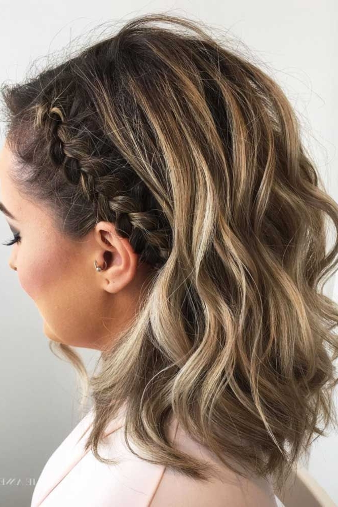 30 Cute Braided Hairstyles For Short Hair In 2018 | Nadezhda With Casual Bright Waves Blonde Hairstyles With Bangs (View 8 of 25)