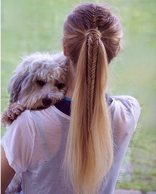 30 Cute Ponytail Hairstyles You Need To Try | Stayglam With Regard To Chunky Ponytail Fishtail Braid Hairstyles (View 13 of 25)