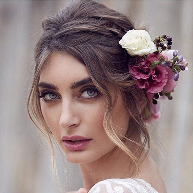 30 Elegant And Graceful Wedding Hairstyles With Flowers – Haircuts With Classy Flower Studded Pony Hairstyles (View 11 of 25)