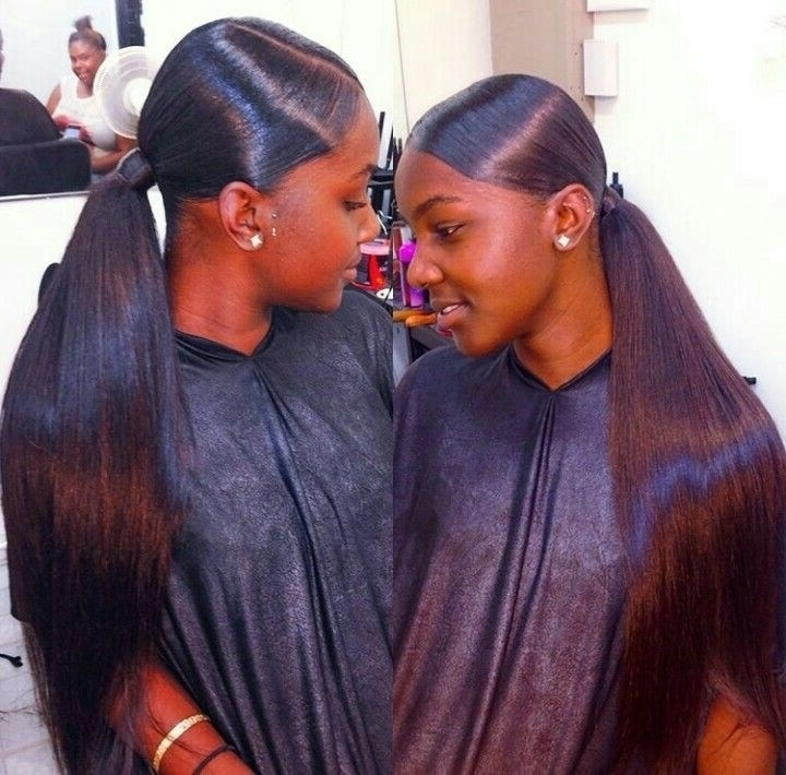 30 Good Ponytail Hairstyles For Black Hair With Weave ~ Louis Palace For Long And Sleek Black Ponytail Hairstyles (View 8 of 25)