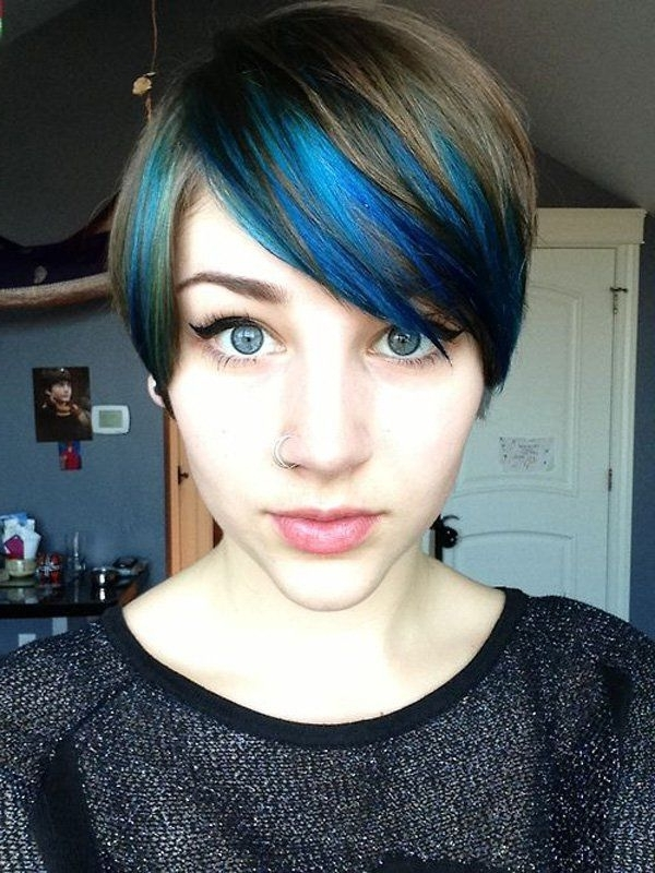 30 Hot Dyed Hair Ideas | Fashion | Pinterest | Blue Highlights Inside Most Recently Funky Blue Pixie Hairstyles With Layered Bangs (View 11 of 25)