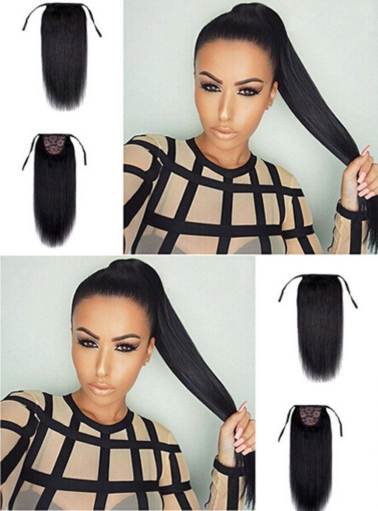 """30"""" Human Hair Straight Drawstring Ponytail Extensions Clip In/on Intended For Embellished Drawstring Ponytail Hairstyles (View 5 of 25)"""