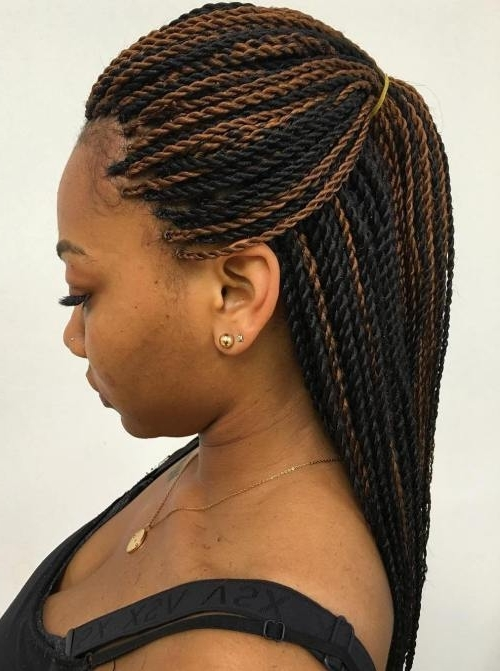 30 Protective High Shine Senegalese Twist Styles Regarding Black Layered Senegalese Twists Pony Hairstyles (View 4 of 25)