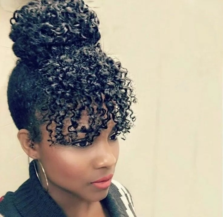 30 Top Trendiest Natural Hairstyles Of This Year For Middle Length Inside Natural Curly Pony Hairstyles With Bangs (View 7 of 25)