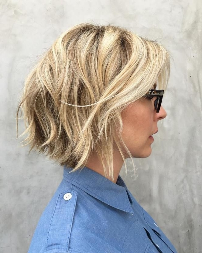 30 Trendiest Shaggy Bob Haircuts Of The Season | Blonde Layers With Shaggy Chin Length Blonde Bob Hairstyles (View 11 of 25)