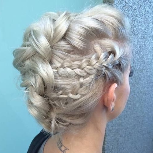 30 Ultra Modern Braided Mohawks Of This Season | Make Me Beautiful Within Platinum Braided Updo Blonde Hairstyles (View 4 of 25)