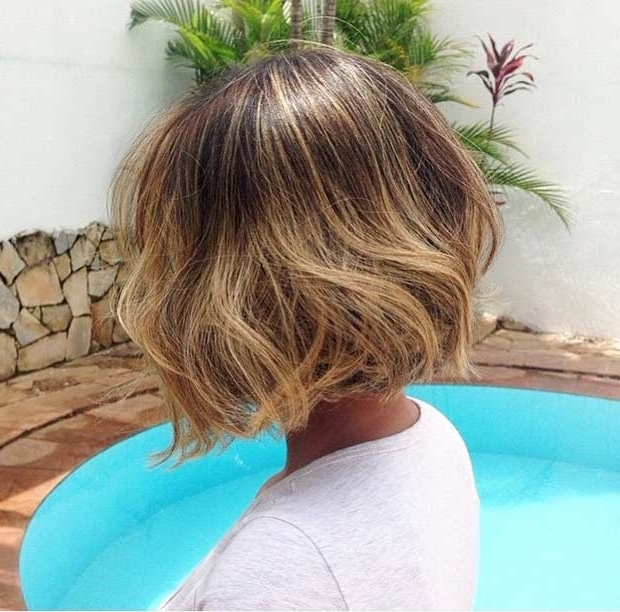 31 Cool Balayage Ideas For Short Hair | Stayglam With Curly Caramel Blonde Bob Hairstyles (View 9 of 25)