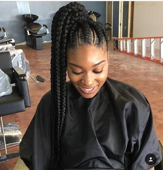 31 Ghana Braids Styles For Trendy Protective Looks Throughout High Ponytail Hairstyles With Jumbo Cornrows (View 8 of 25)