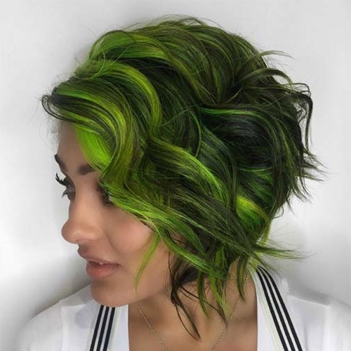 31 Glamorous Green Hairstyle Ideas | Love Ambie In Blonde Hairstyles With Green Highlights (View 3 of 25)