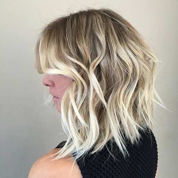 31 Gorgeous Long Bob Hairstyles | Stayglam Pertaining To Caramel Blonde Lob With Bangs (View 14 of 25)