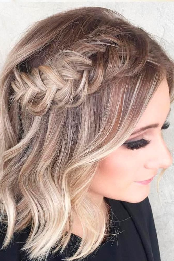 33 Amazing Prom Hairstyles For Short Hair 2018 | Braids | Pinterest Throughout Brunette Macrame Braid Hairstyles (View 7 of 25)