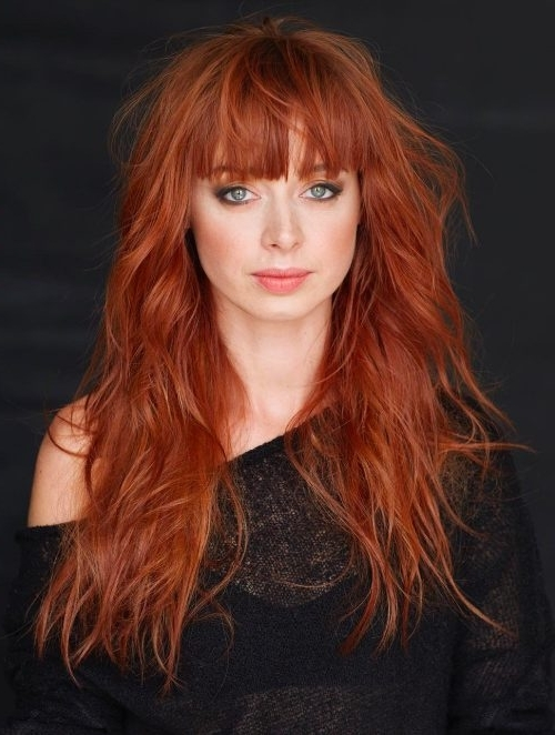 33 Greatest Long Shag Haircuts To Try In 2018 Intended For Ginger Highlights Ponytail Hairstyles With Side Bangs (View 25 of 25)