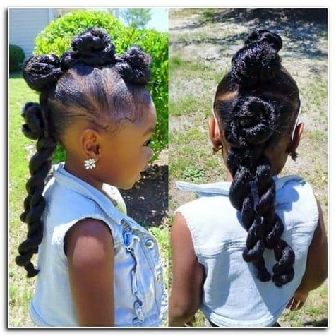 33 Perfect Ponytail Hairstyles For Little Black Girls Throughout Pony Hairstyles With Curled Bangs And Cornrows (View 6 of 25)