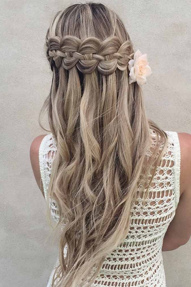 33 Romantic Looks With A Waterfall Braid | Hairstyle | Pinterest For Ponytail Hairstyles With A Braided Element (View 5 of 25)
