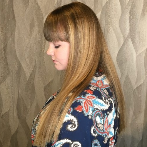 35 Best Long Hair With Bangs For Women In 2018 With Weaved Polished Pony Hairstyles With Blunt Bangs (View 25 of 25)