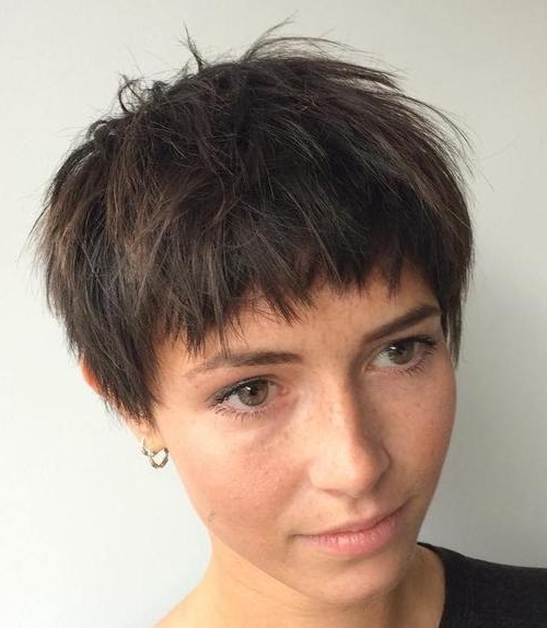 35 Trendiest Short Brown Hairstyles And Haircuts To Try – Page 3 Intended For Most Recently Choppy Bowl Cut Pixie Hairstyles (View 11 of 25)