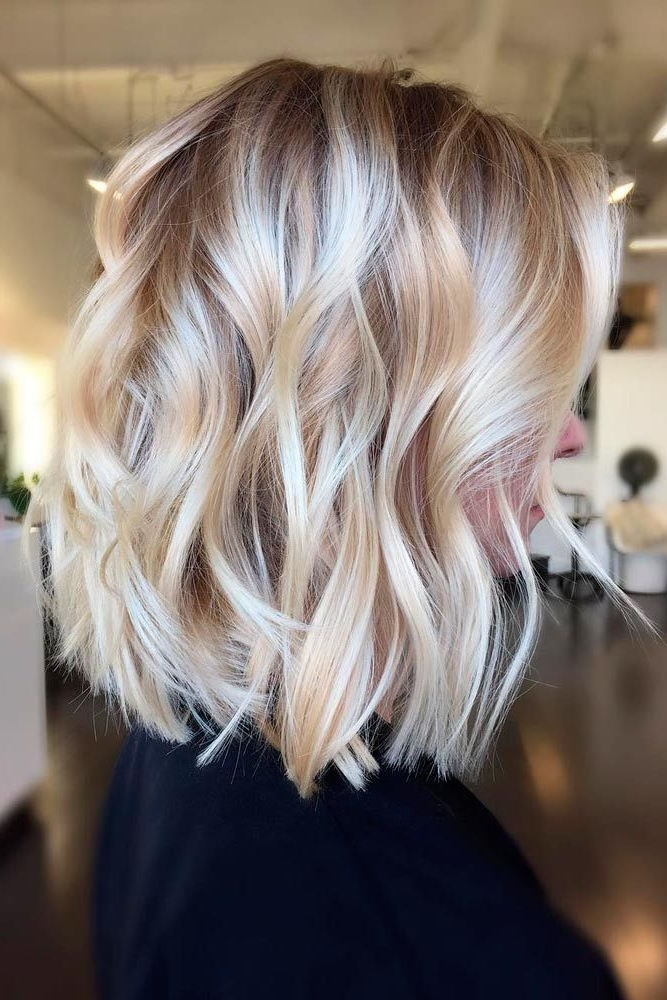 36 Chic Medium Length Layered Hair In 2018 | Hare | Pinterest Regarding Casual Bright Waves Blonde Hairstyles With Bangs (View 10 of 25)