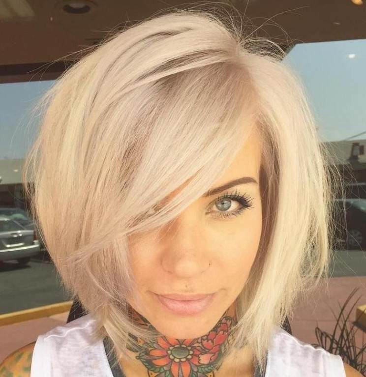 37 Cute Medium Haircuts To Fuel Your Imagination   Blonde Bobs, Side Within Blonde Bob With Side Bangs (View 2 of 25)