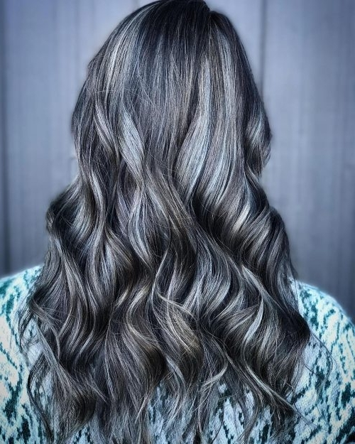 38 Incredible Silver Hair Color Ideas In 2018 In Dark Brown Hair Hairstyles With Silver Blonde Highlights (View 6 of 25)