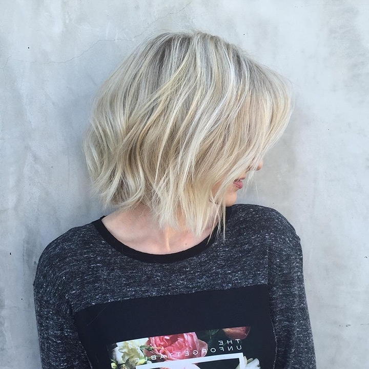 40 Amazing Choppy Bob Hairstyles For Short & Medium Hair 2019 Intended For Curly Angled Blonde Bob Hairstyles (View 16 of 25)