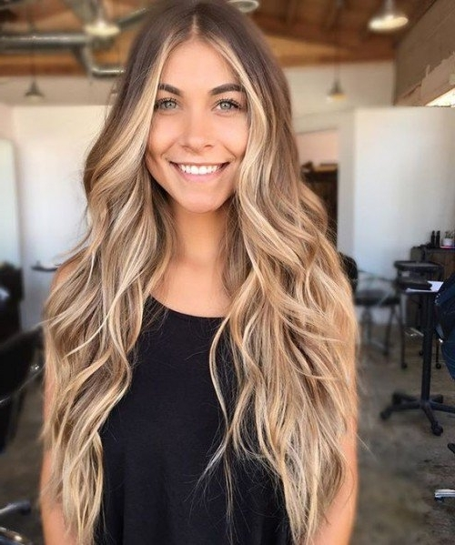 40 Blonde Balayage Looks | Herinterest/ With Creamy Blonde Waves With Bangs (View 16 of 25)