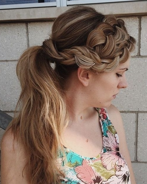40 Cute And Comfortable Braided Headband Hairstyles | Ponytail Inside Ponytail And Lacy Braid Hairstyles (View 13 of 25)