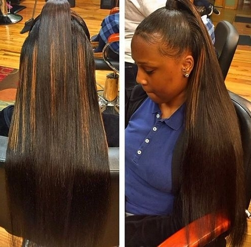 40 Easy And Chic Half Ponytails For Straight, Wavy And Curly Hair Pertaining To Sleek Straightened Black Ponytail Hairstyles (View 15 of 25)
