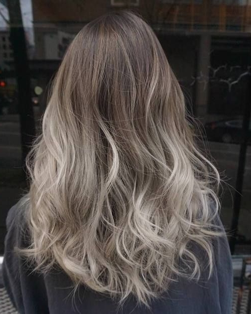 40 Glamorous Ash Blonde And Silver Ombre Hairstyles | Glamify In Glamorous Silver Blonde Waves Hairstyles (View 5 of 25)
