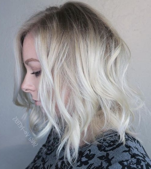 40 Hair ?olor Ideas With White And Platinum Blonde Hair | Blonde Lob With Grayscale Ombre Blonde Hairstyles (View 11 of 25)