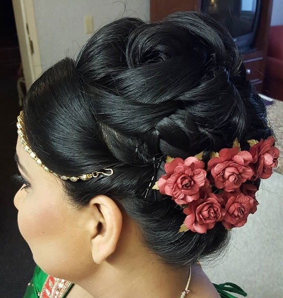 40 Indian Bridal Hairstyles Perfect For Your Wedding In Classy Flower Studded Pony Hairstyles (View 14 of 25)
