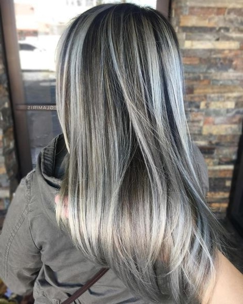Featured Photo of Dark Brown Hair Hairstyles With Silver Blonde Highlights