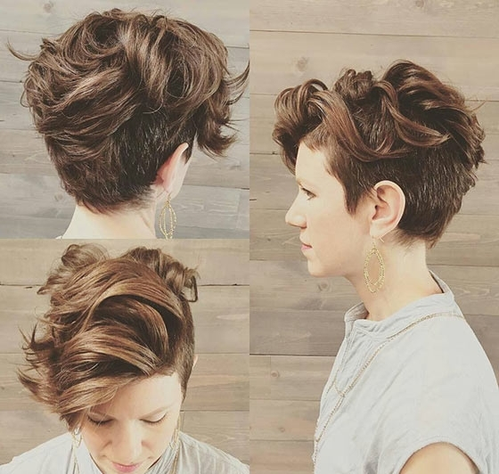 40 Short Super Spunky Shag Hairstyles Intended For Most Up To Date Pixie Bob Hairstyles With Temple Undercut (View 8 of 25)