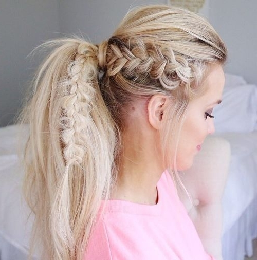 40 Super Simple Messy Ponytail Hairstyles | Hairstyles | Pinterest For Messy Ponytail Hairstyles With A Dutch Braid (View 3 of 25)