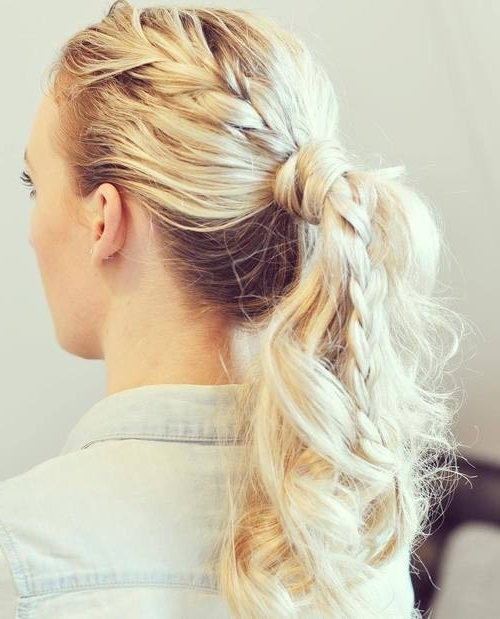 40 Super Simple Messy Ponytail Hairstyles – Page 15 – Foliver Blog In Braided And Knotted Ponytail Hairstyles (View 12 of 25)