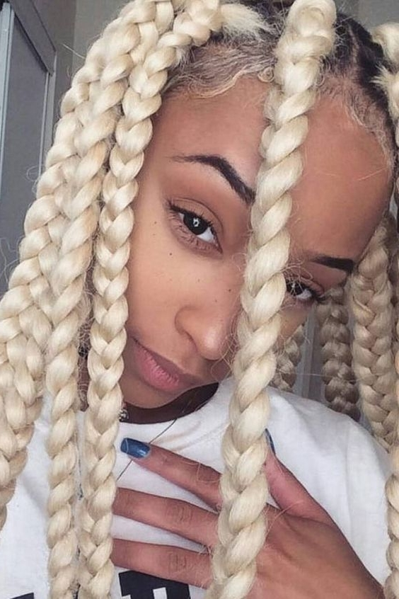 42 Chunky Cool Jumbo Box Braids Styles In Every Length Inside Platinum Braided Updo Blonde Hairstyles (View 18 of 25)