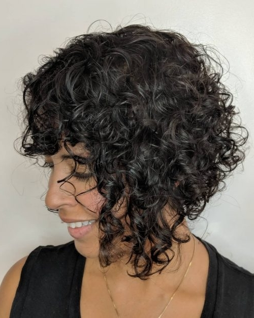 42 Curly Bob Hairstyles That Rock In 2018 Within Asymmetrical Curly Ponytail Hairstyles (View 7 of 25)
