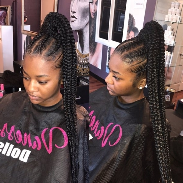 43 New Feed In Braids And How To Do It – Style Easily For High Ponytail Hairstyles With Jumbo Cornrows (View 12 of 25)