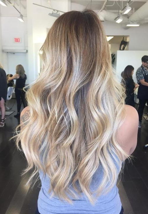 45 Balayage Hairstyles 2018 – Balayage Hair Color Ideas With Blonde Regarding Ash Blonde Lob With Subtle Waves (View 8 of 25)