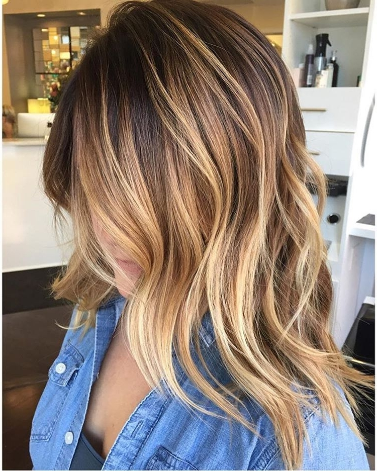 45 Balayage Hairstyles 2018 – Balayage Hair Color Ideas With Blonde With Caramel Blonde Lob With Bangs (View 23 of 25)